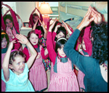 girls do YMCA dance at birthday party nyc