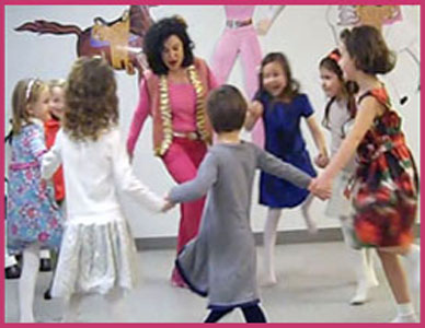 kids dancing in a circle at birthday party in New York City