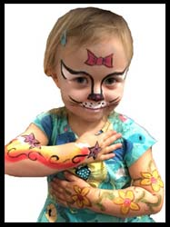 Birthday girl gets face painted as Hello Kitty and arms body painted with rainbow and flowers nyc