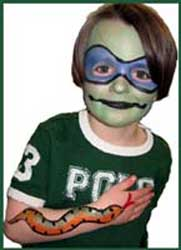 Boy facepainting as ninja turtle and body painted with big snake Long Island NY