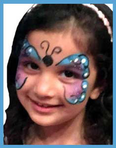 Birthday girl gets facepainted as butterfly with her favorite colors Queens nyc