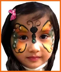 Birthday child picked butterfly for her face painting in Brooklyn NYC