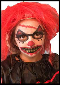 Scary evil clown Halloween face painting to match child's costume Queens NYC