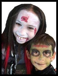 Kids got face painted as zombies at Halloween party in Brooklyn NYC