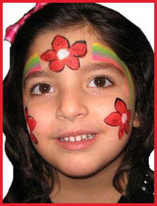 Poinsetta face painting for kids Christmas party Bronx NYC