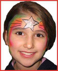 Child facepainted with rainbow star for holiday party entertainment Westchester NY