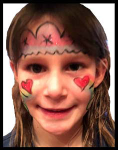 Girl is face painted with party crown and rainbow hearts in Manhattan NYC