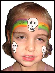 This girl models her Halloween face painting with a rainbow skull crown in Manhattan NY
