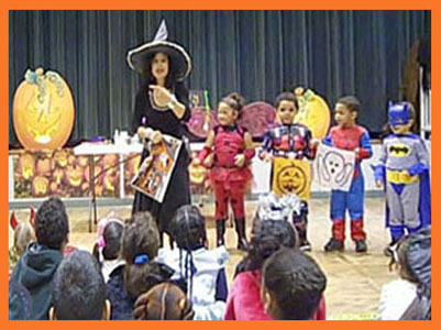 Children decorate table for Daisy Doodle's Halloween magic show NY NJ CT