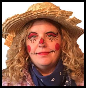 This lady requested a scarecrow face painting to match her halloween party costume in Bronx NY